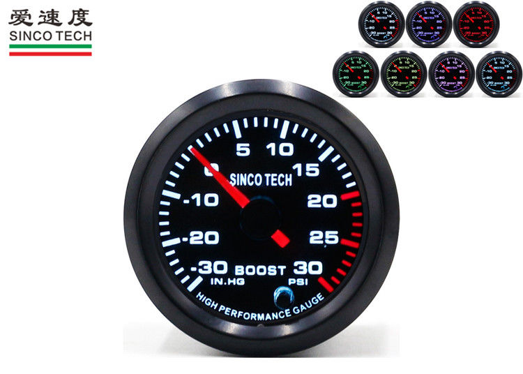 30 PSI Boost Gauge , 50MM Digital Turbo Gauge Seven Colors Backlight LED Warning
