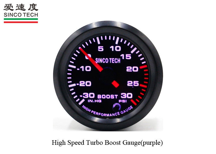 Purple Turbo Boost Gauge Universal Single Function With Stepper Motor